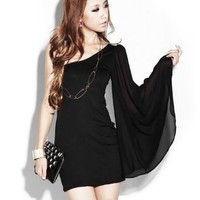 Amazon.com: LOCOMOLIFE Sexy One Shoulder Long Mesh Angel Sleeve Casual Mini Day Night Dress Cocktail Party Clubwear FFD016 One Size Black: Clothing