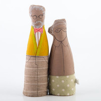 Mature love  - old couple fabric dolls , He in Mustard jacket , Papillon and natural canvas Pants She in green skirt and glasses - handmade