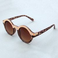 Round Sunglasses with Gold Detailing - Grey Tortoise Shell