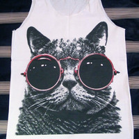Cat Red Glasses Shirt -- Cat Shirt Animal Shirt Women Shirt Tank Top Women T-Shirt Singlet Tunic Vest Women Sleeveless Size S