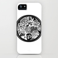 Tribal Abstract Inverted Circle White iPhone Case by Pom Graphic Design
