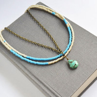Tribal Multi Strand Bead Necklace, Turquoise Strand Necklace Jewelry, Tribal Blue Stone Necklace,Turquoise and Gold Seed Beads,Canadian Shop