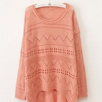 Pink Curved Hum Holey Texture Sweater