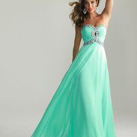 Empire Strapless Ruched Bodice Beaded Chiffon Prom Dress