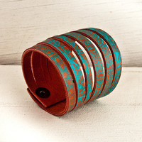 Turquoise Accessories Leather Cuff OOAK by rainwheel on Etsy