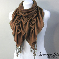 Ruffle Scarf, Pashmina Scarf, Beautiful Tassle Scarf  in Brown by Scarves Infinity