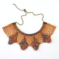 Aztec, Geometric, Statement Necklace, Collar, Knit with Coral & Lemon Lace with Hand-Dyed Silk