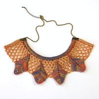 Aztec, Geometric, Statement Necklace, Collar, Knit with Coral &amp; Lemon Lace with Hand-Dyed Silk