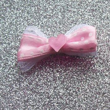 Pastel Pink Glitter Heart Hair Bow Clips - Set of 2 from On Secret Wings