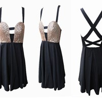 Glitter Strap Back Dress