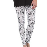 white and gray floral skull print leggings - debshops.com