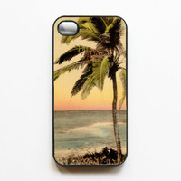 iPhone 4 Case Vintage Postcard - Sunset Beach