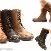Women&#x27;s Stylish Comfy Low Heel Studded Military Lace Up Boot Shoes W/ Zipper NEW