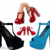 Women's Peep Toe High Heel Studded T-Strap Platform Pump Shoes Red Blue Black