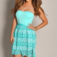 Cute Mint Green Patterned High Low Dress