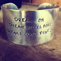 Hand Stamped Wide Two Inch Bracelet Cuff with Aerosmith Lyrics