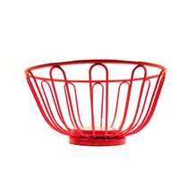 red wire basket, retro decor, kitchen, fruit bowl, baskets, bowls, upcycled home decor, vintage housewares, organization