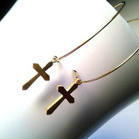 Gold Cross Simple Earrings  Simple Cute by LaLaCrystal on Etsy