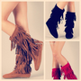THEY'RE BACK! Indian Cherokee 3 Tier Layer Fringe Flat Moccasin Boots Faux Suede