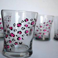 Hot Pink Cheetah Print Lowball Set - Made to Order