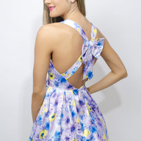 Floral Print Sleeveless Dress with Pleat Skirt&amp;Open Bow Back