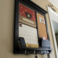 Framed Furniture Calendar Mail Organizer Storage and Shelf with Bulletin Board Cork, Chalk Board or Dry Erase and Keyhook