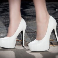 DeBlossom Nelson-18 Almond Toe Platform Pump (White) - Shoes 4 U Las Vegas