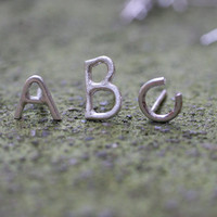 Alphabet letter stud earrings in Sterling Silver by SaaraReidsema