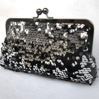 Blackened Silver Sequins Clutch