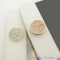 1PC Bling  Paved Crystal Circle Alloy Apple by StudioOrangeStar