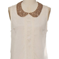 Sequin Collar Tank Ivory