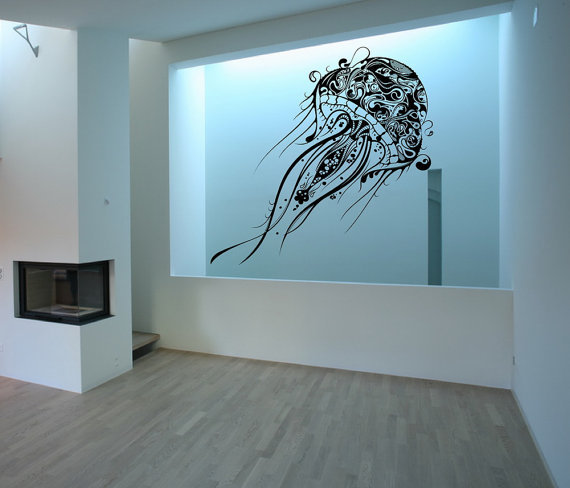 Large Jellyfish Vinyl Wall Decal 22085 by CuttinUpCustomDieCut