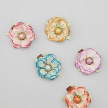 Bourbon Street Boutique - Pastel Glitter Flower Clip Set | babies, kids, girls