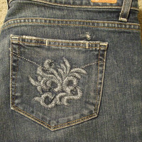 Paige Premium Denim Jeans womens 32 x 34 Laurel Canyon embroider pocket boot cut