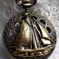 Nautical pocket watch, men&#x27;s pocket watch, nautical theme,  front case is mounted with sailing ship