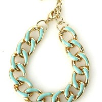 Mint Green Gold Chunky Thick Chain Link Stackable Cuff Bracelet Jewelry