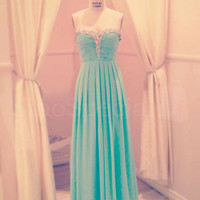 WowDresses — A-line Sweetheart Floor Length Prom Dress with Beadings