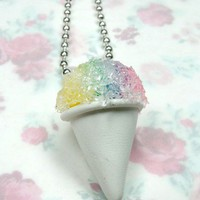 Miniature Food Necklace Sno Rainbow Snow Cone Jewelry