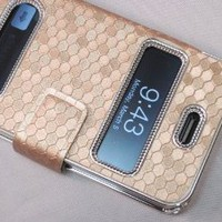 Amazon.com: Gold Silver Luxury Luxurious Synthetic Leather Magnetic Flip Case Cover Protector Skin for iPhone 4 4G 4S: Cell Phones &amp; Accessories
