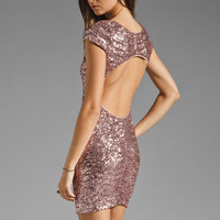 DRESS THE POPULATION Gabriela Cap Sleeve Open Back Sequin Dress in Rose Gold from REVOLVEclothing.com