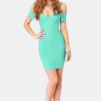 Strappily Ever After Off-the-Shoulder Mint Dress