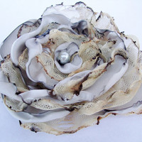 Grey Flower Accessory, Wedding Hair Flower