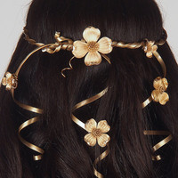 Wedding Headpiece - Hair Accessory - Golden Crown with Vintage Flowers - Cascading Veil of Vines - The Guenivere