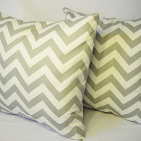 Two Zigzag Pillow Covers Grey and White - 18 x 18 inches Throw Pillow Cushion Cover Accent Pillow