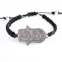 Large Hamsa Bracelet Black Hemp Macrame Friendship Hand of Fatima
