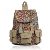 Backpack with Ethnic Style Patten Printing