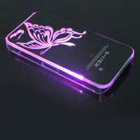 Bestgoods  LED Butterfly Shining  When Phone Call Nice Hard Cover Case ForIphone 4/4s/5