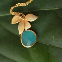 Gold Plated Floral Necklace with Ocean Blue Pendant, Wild Orchids