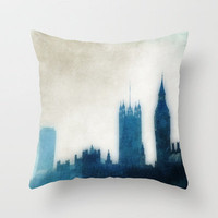 The Many Steepled London Sky Throw Pillow by Ally Coxon | Society6