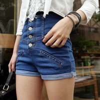 Lemon-tree High Waist Denim Shorts Thin Brass Buttons Curling Hot Pants Sexy Shorts - US DinoDirect.com